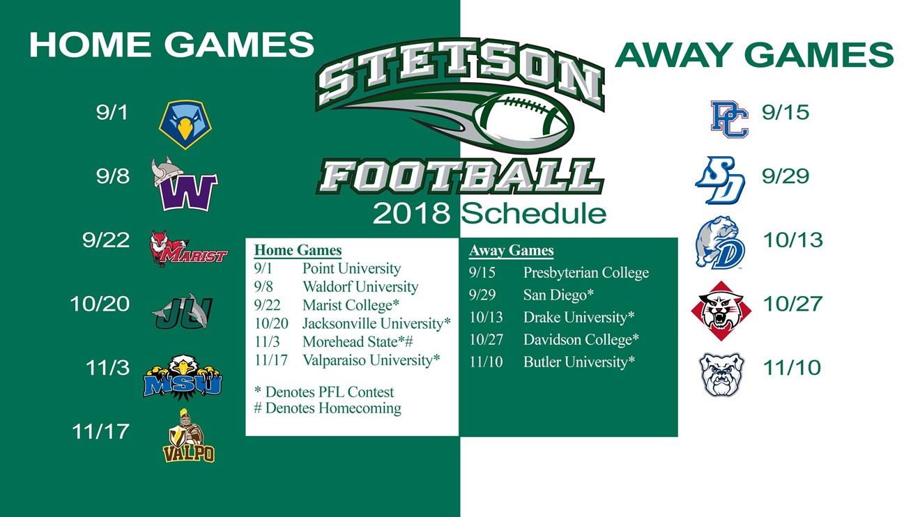 379388cc Stetson Football Schedule for 2018 Season Released - Stetson ...